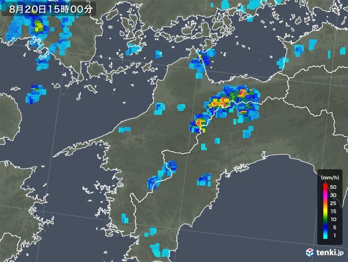 愛媛県の雨雲レーダー(2019年08月20日)