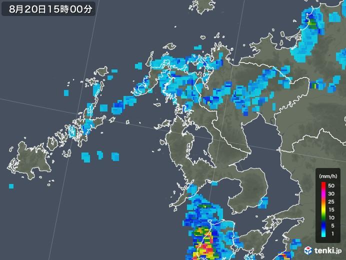 長崎県の雨雲レーダー(2019年08月20日)
