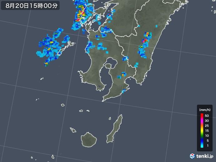 鹿児島県の雨雲レーダー(2019年08月20日)