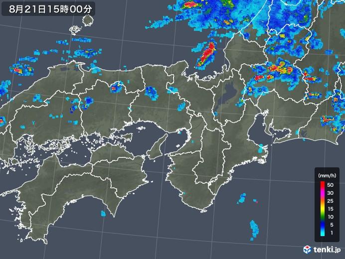 近畿地方の雨雲レーダー(2019年08月21日)