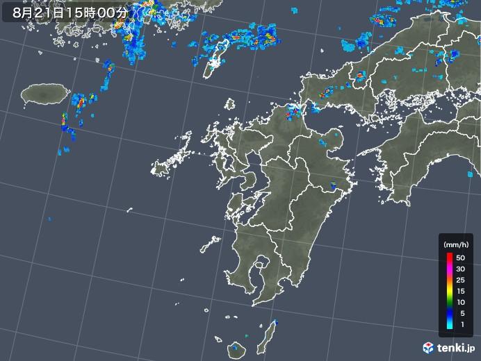 九州地方の雨雲レーダー(2019年08月21日)