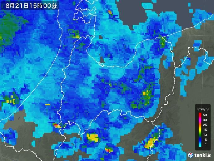 富山県の雨雲レーダー(2019年08月21日)