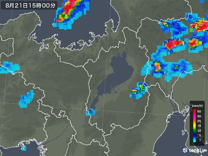 滋賀県の雨雲レーダー(2019年08月21日)