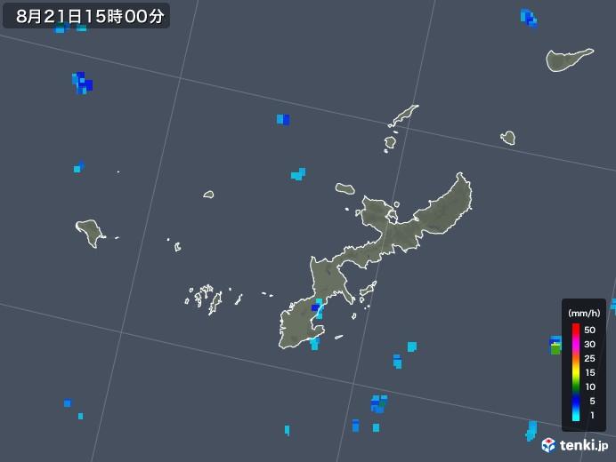 沖縄県の雨雲レーダー(2019年08月21日)
