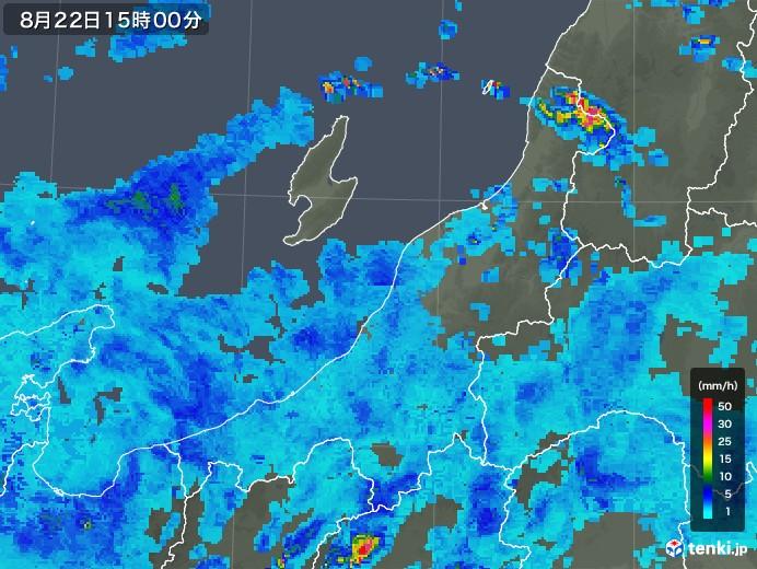 新潟県の雨雲レーダー(2019年08月22日)