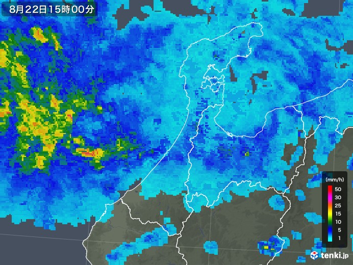 石川県の雨雲レーダー(2019年08月22日)