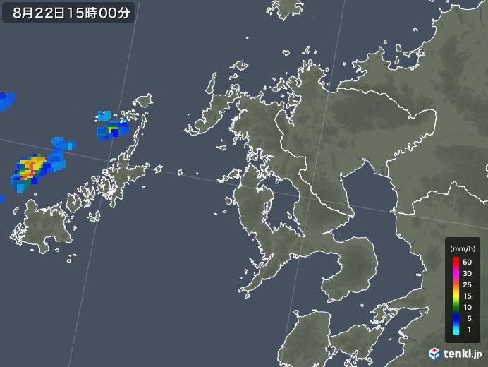 長崎県の雨雲レーダー(2019年08月22日)