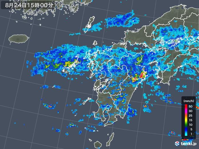九州地方の雨雲レーダー(2019年08月24日)