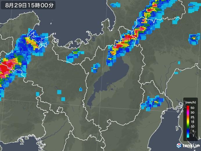 滋賀県の雨雲レーダー(2019年08月29日)