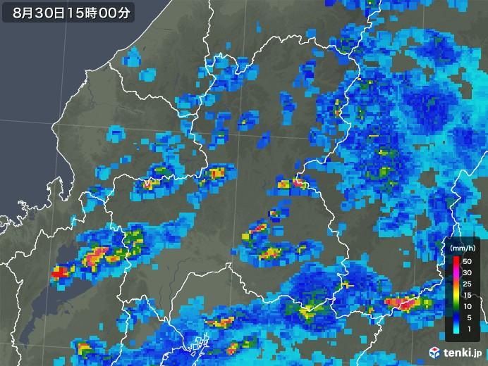 岐阜県の雨雲レーダー(2019年08月30日)