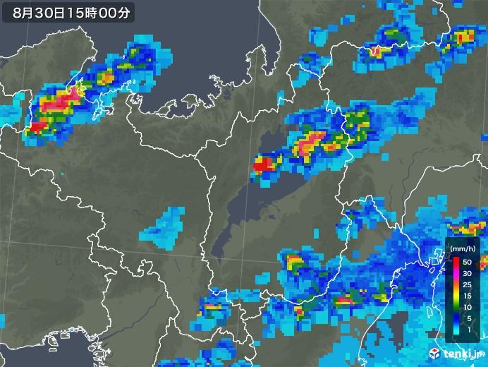 滋賀県の雨雲レーダー(2019年08月30日)