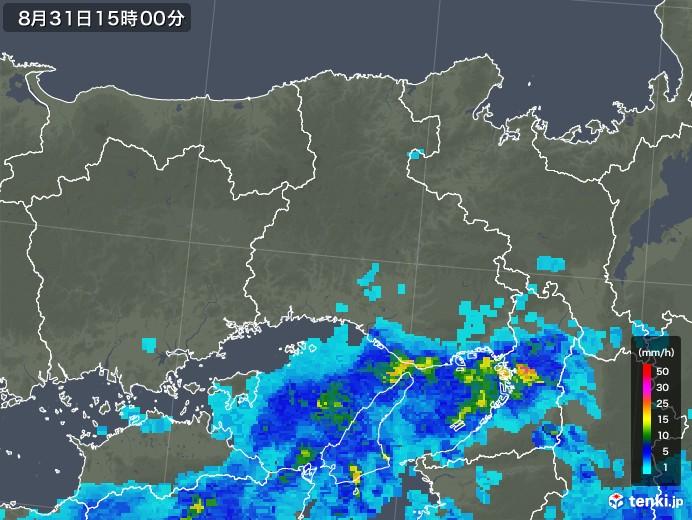 兵庫県の雨雲レーダー(2019年08月31日)