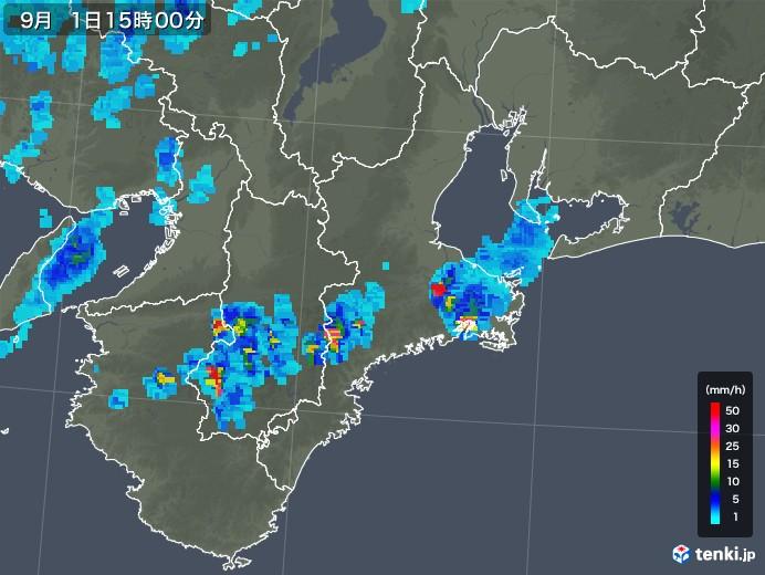 三重県の雨雲レーダー(2019年09月01日)