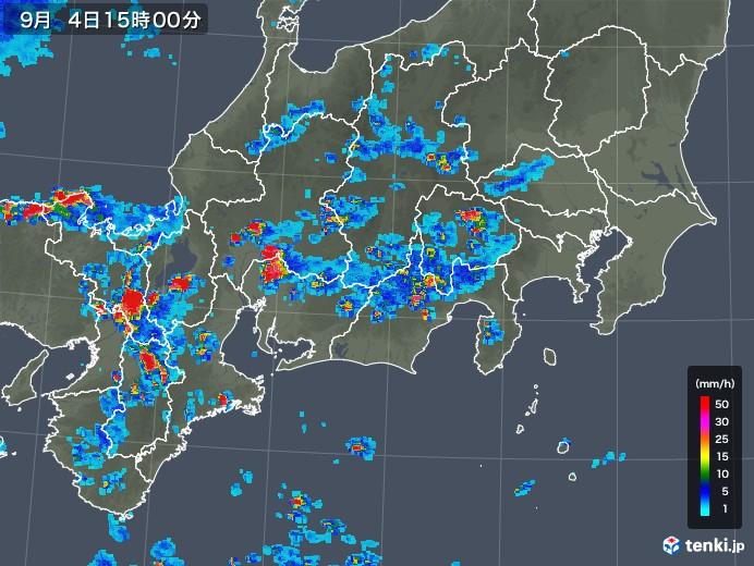 東海地方の雨雲レーダー(2019年09月04日)