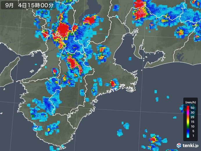 三重県の雨雲レーダー(2019年09月04日)