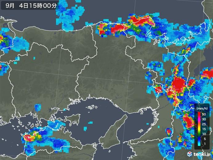 兵庫県の雨雲レーダー(2019年09月04日)