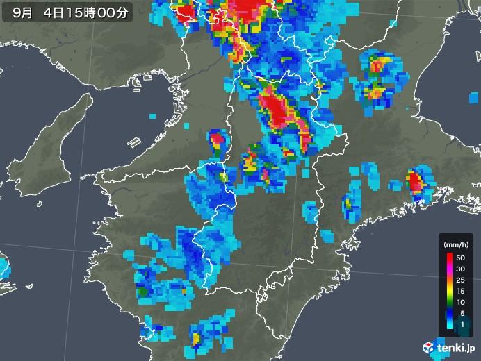 奈良県の雨雲レーダー(2019年09月04日)