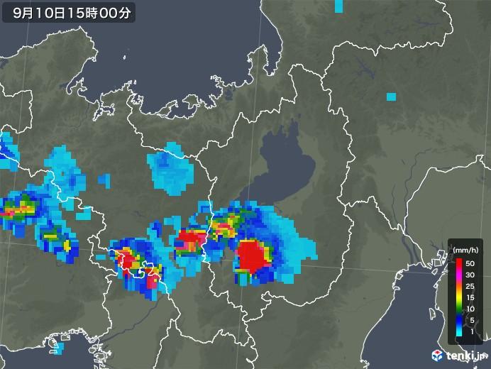 滋賀県の雨雲レーダー(2019年09月10日)