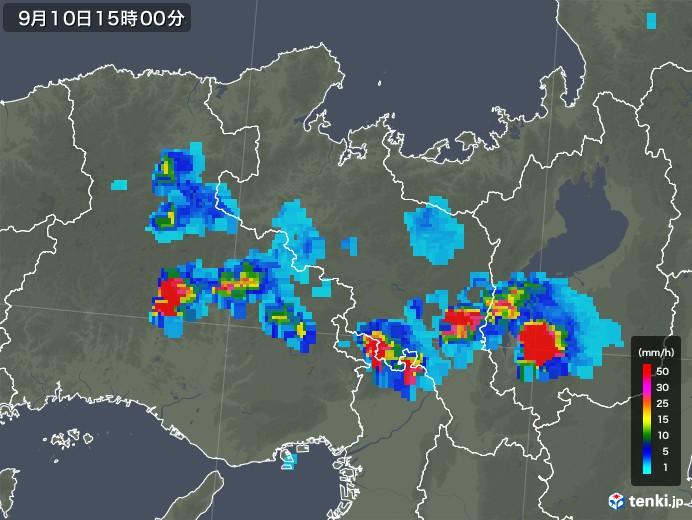 京都府の雨雲レーダー(2019年09月10日)