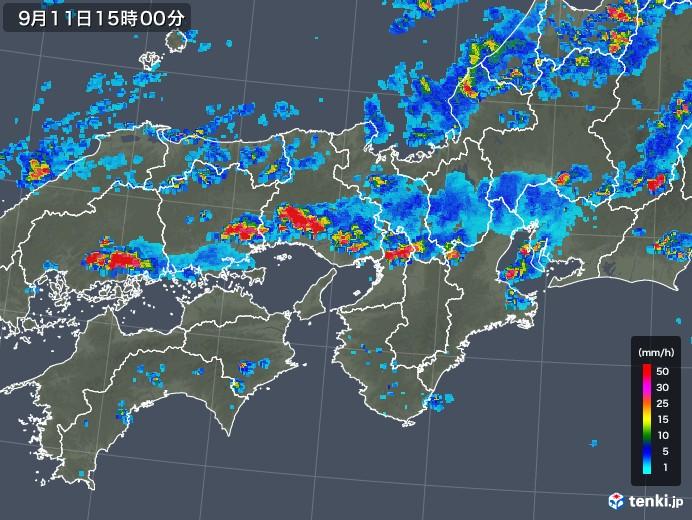 近畿地方の雨雲レーダー(2019年09月11日)