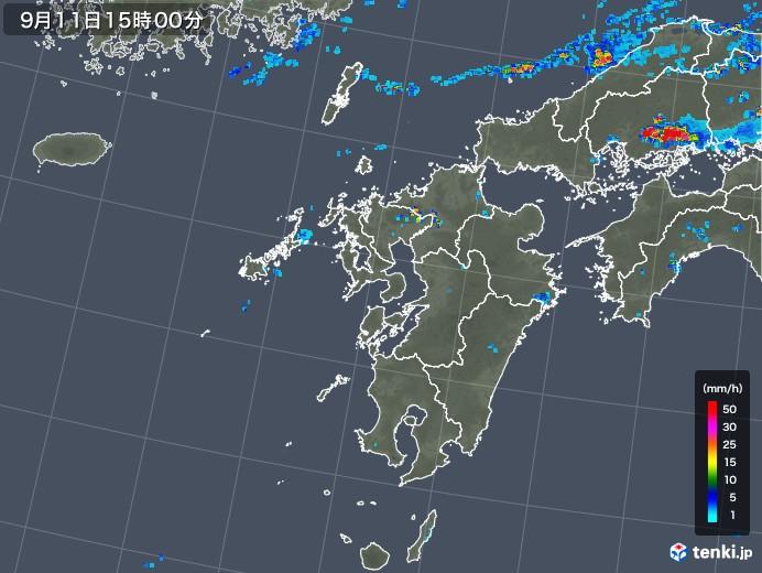 九州地方の雨雲レーダー(2019年09月11日)