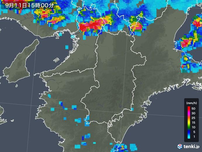 奈良県の雨雲レーダー(2019年09月11日)
