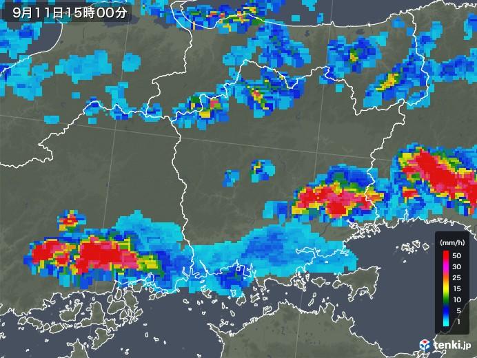 岡山県の雨雲レーダー(2019年09月11日)