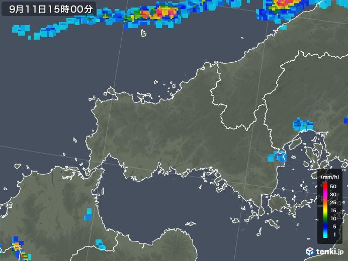 山口県の雨雲レーダー(2019年09月11日)