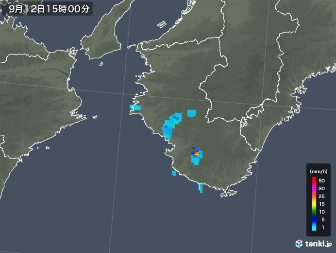 和歌山県の雨雲レーダー(2019年09月12日)