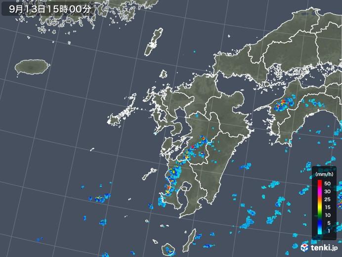 九州地方の雨雲レーダー(2019年09月13日)