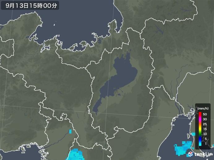 滋賀県の雨雲レーダー(2019年09月13日)