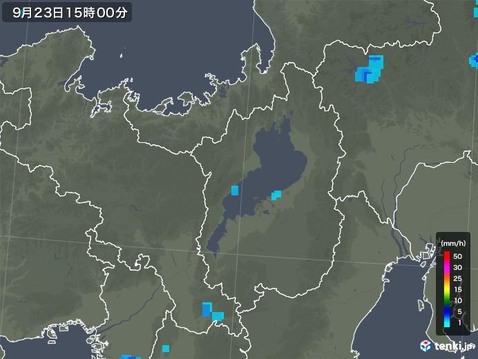 滋賀県の雨雲レーダー(2019年09月23日)