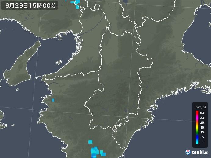 奈良県の雨雲レーダー(2019年09月29日)