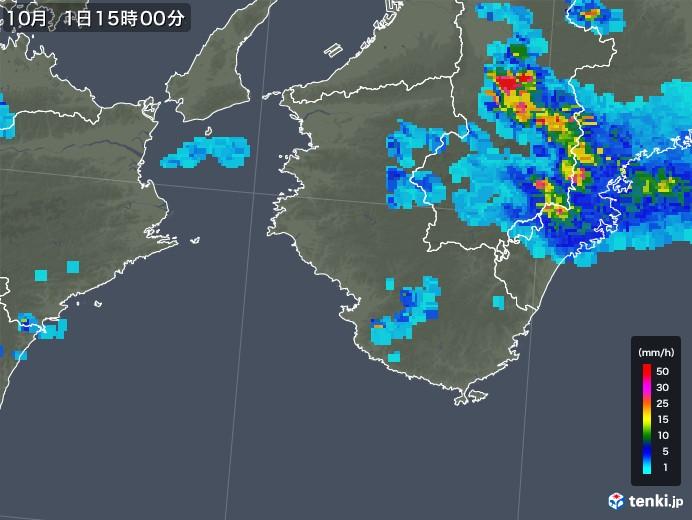 和歌山県の雨雲レーダー(2019年10月01日)