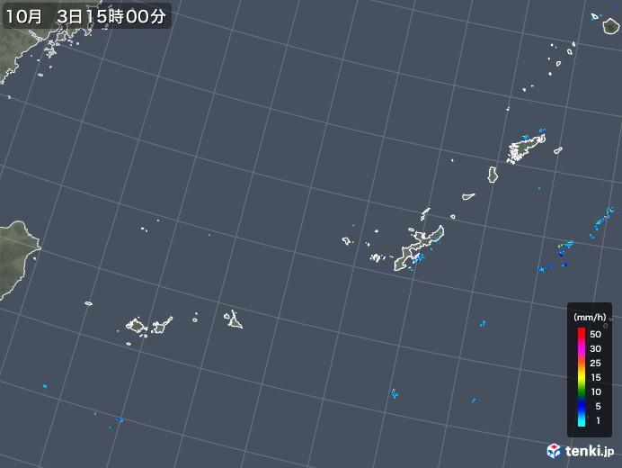 沖縄地方の雨雲レーダー(2019年10月03日)