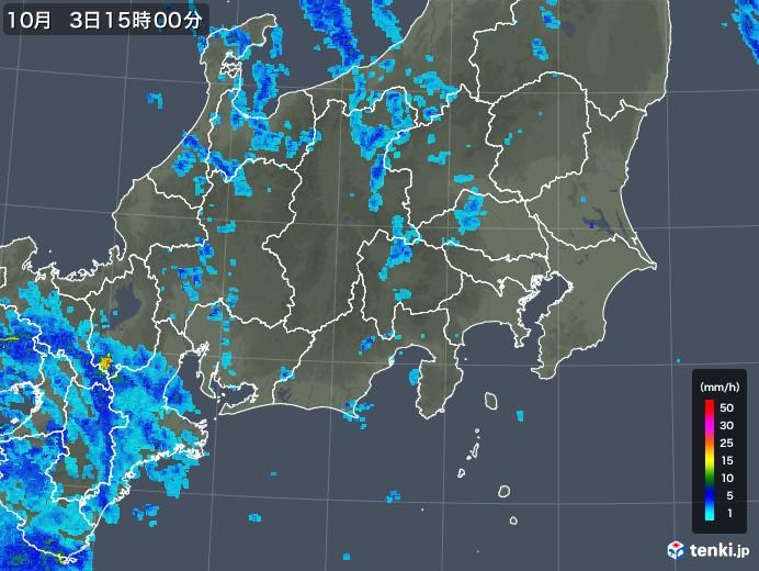 関東・甲信地方の雨雲レーダー(2019年10月03日)
