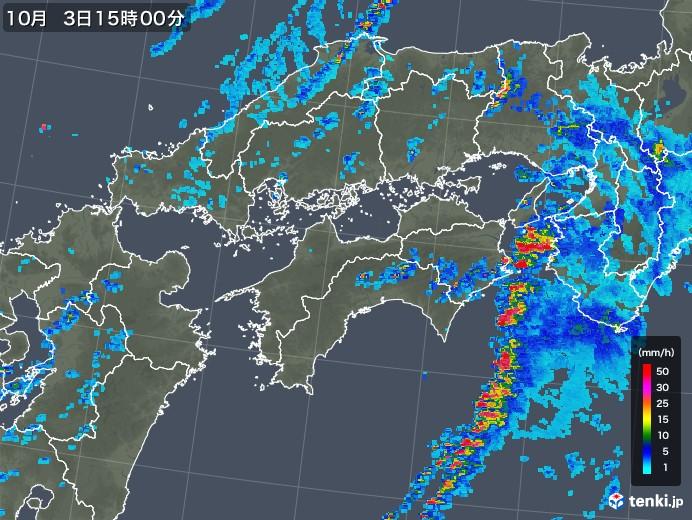 四国地方の雨雲レーダー(2019年10月03日)
