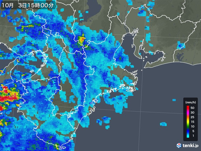 三重県の雨雲レーダー(2019年10月03日)
