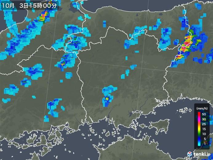 岡山県の雨雲レーダー(2019年10月03日)