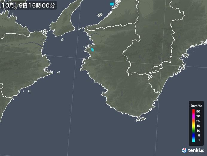 和歌山県の雨雲レーダー(2019年10月09日)