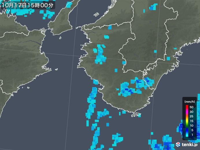 和歌山県の雨雲レーダー(2019年10月17日)