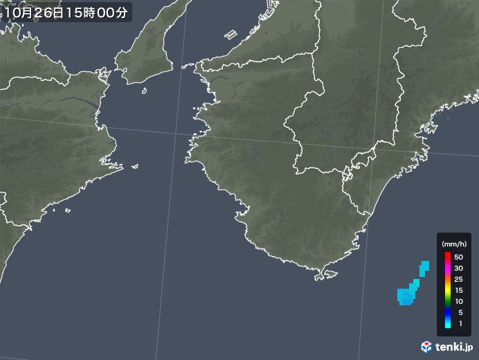 和歌山県の雨雲レーダー(2019年10月26日)