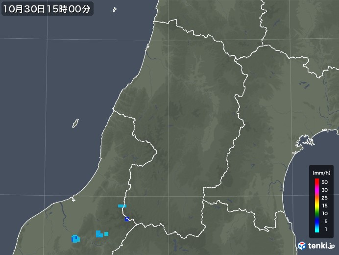 山形県の雨雲レーダー(2019年10月30日)