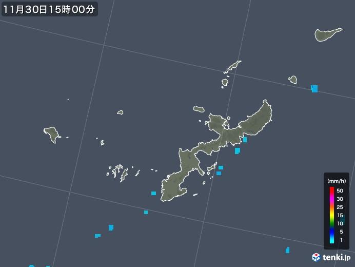 沖縄県の雨雲レーダー(2019年11月30日)
