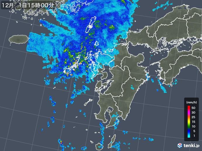 九州地方の雨雲レーダー(2019年12月01日)