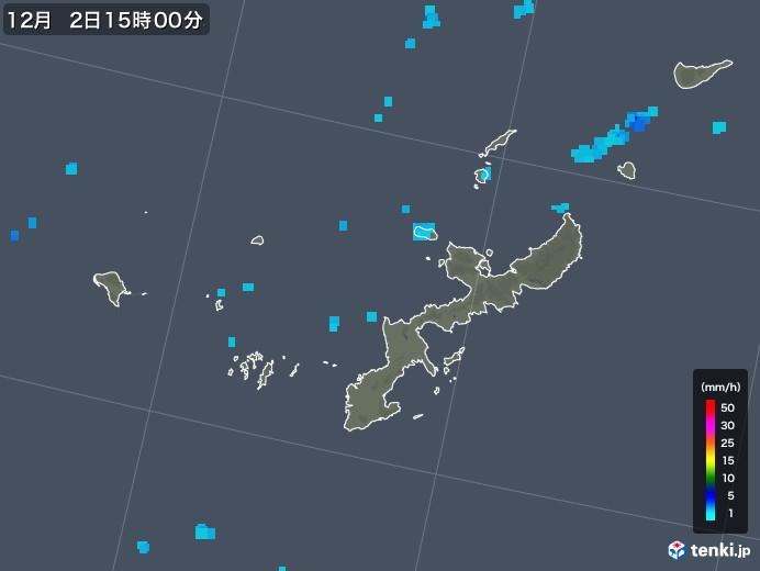 沖縄県の雨雲レーダー(2019年12月02日)