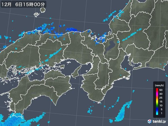 近畿地方の雨雲レーダー(2019年12月06日)