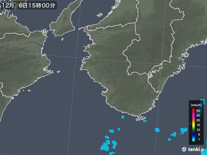 和歌山県の雨雲レーダー(2019年12月06日)