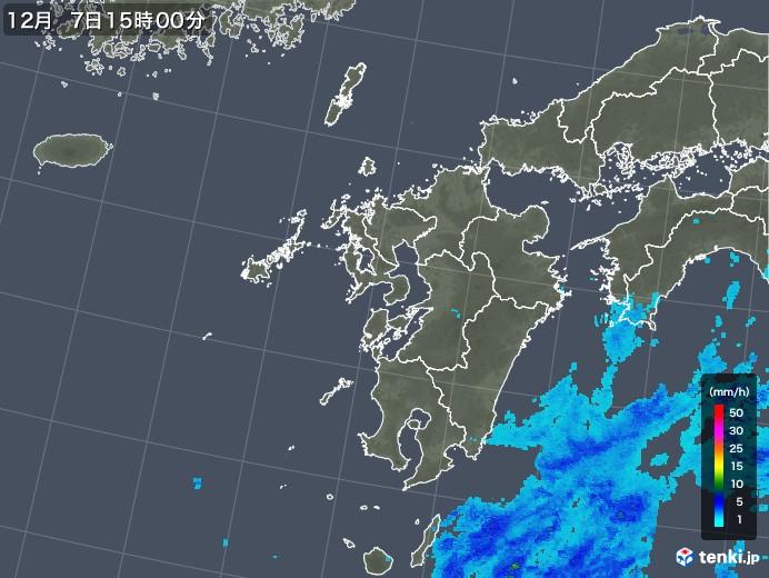 九州地方の雨雲レーダー(2019年12月07日)