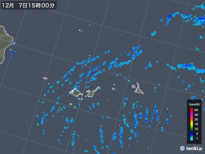 宮古島・石垣・与那国(沖縄県)の雨雲レーダー(2019年12月07日)